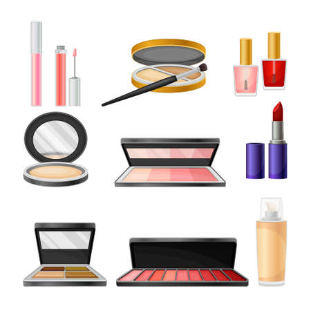Decorative Cosmetics or Color Cosmetics with Eye Shadow and Facepowder Set. Female Stuff for Coloring Face and Applying Makeup