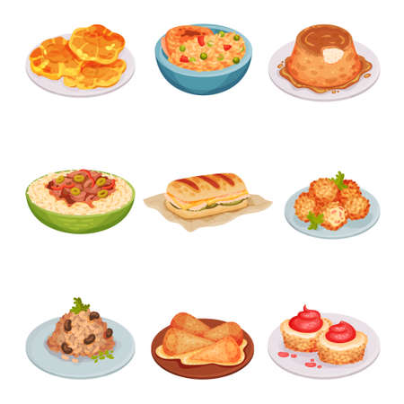 Cuban Food with Flan and Sandwich with Pork Roast  Set. Appetizing Cuban Main Courses and Desserts Plating for Restaurant Menu Concept Illustration