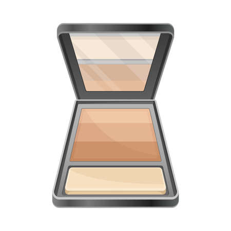 Face powder as Decorative Cosmetics or Color Cosmetics Illustration. Female Stuff for Coloring Face and Applying Makeup