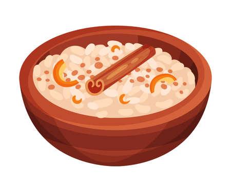 Rice Milk Pudding with Cinnamon and Lemon Peel as Cuban Dish Illustration. Appetizing Cuban Food Plating for Restaurant Menu Concept Vetores