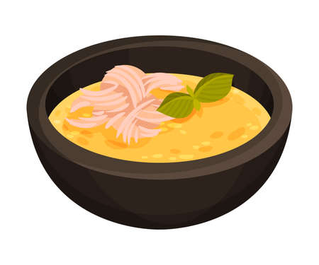 Creamy Soup with Corn and Meat as Cuban Dish Illustration. Appetizing Cuban Food Plating for Restaurant Menu Concept