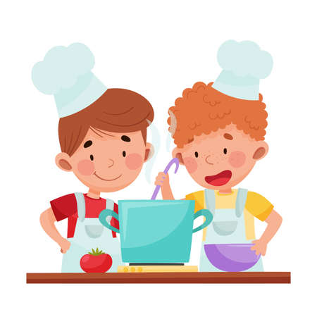 Cute Boy Chef Characters Wearing Apron and Hat Cooking Soup Illustration. Little Kids Preparing Food Together Concept Vecteurs