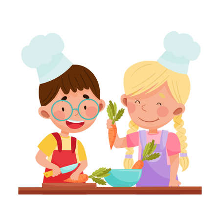 Cheerful Girl and Boy Chef Characters Wearing Apron and Hat Chopping Carrot on Cutting Board  Illustration. Little Kids Cooking and Preparing Food Together Concept Illustration