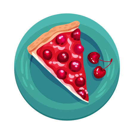 Pie or Tart Piece with Cherry as Dessert Served on Plate  Illustration. Sweet Course with Sugary Topping View from Above