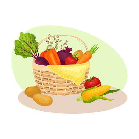 Wicker Basket Full of Vegetables as Crop Harvesting Vector Illustration