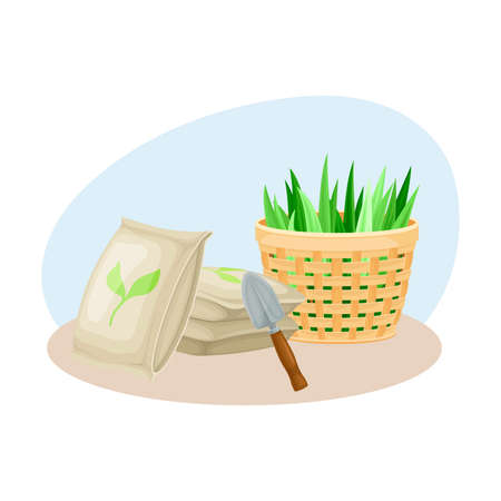 Seedling or Young Plant and Garden Inventory with Iron Spade and Fertilizer Composition Vectores