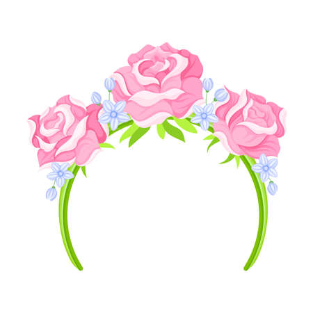 Headband with Decorative Rose Flowers and Leaves Vector Illustration