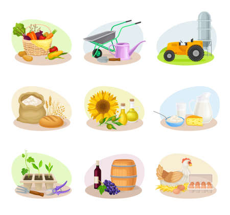 Farming Composition with Agricultural Crops and Farming Inventory Vector Set