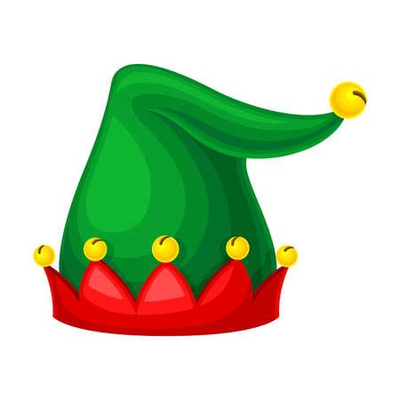 Jester Green Hat with Yellow Jingle Bells Illustration Ilustración de vector
