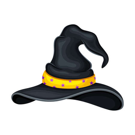 Witch Pointed Hat with Ribbon and Wide Brims Illustration Vetores