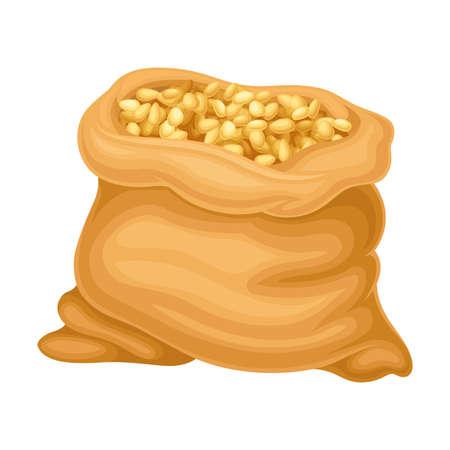 Dry Seeds of Cereals or Grain Crops in Sack Illustration