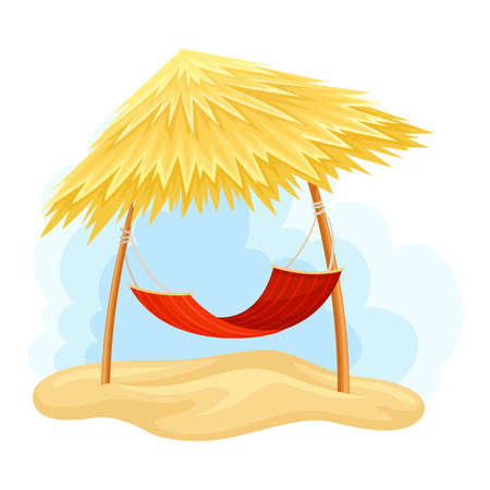 Thatch or Straw Roof with Hanging Hammock  Illustration