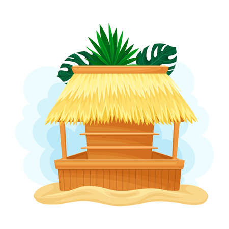 Hut or Bar with Thatched or Straw Roof and Palm Leaves Иллюстрация