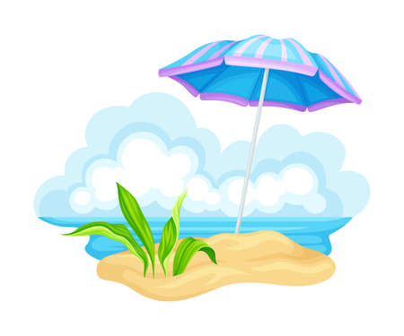 Umbrella on Sand or Seashore as Sunshade Vector Illustration Иллюстрация
