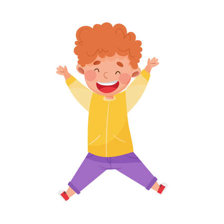 Joyful Boy Character Jumping High with Joy and Excitement Vector Illustration