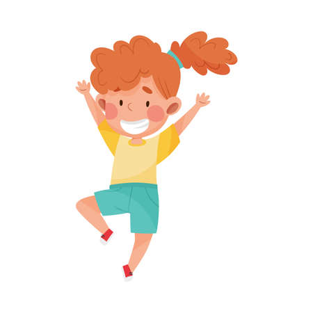Girl Character with Red Hair Jumping High with Joy and Excitement Vector Illustration