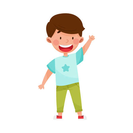 Smiling Boy Character Greeting Waving Hand and Saying Hi Vector Illustration Vektorové ilustrace