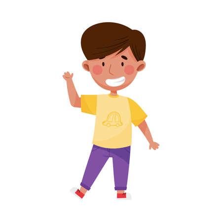 Cheerful Boy Character with Dark Hair Greeting Waving Hand and Saying Hi Vector Illustration