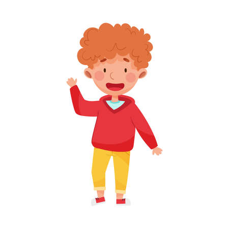 Cheerful Boy Character with Red Hair Greeting Waving Hand and Saying Hi Illustration