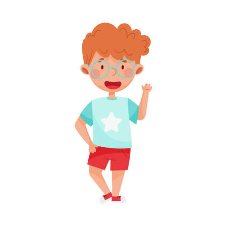 Cheerful Boy Character with Red Hair Greeting Waving Hand and Saying Hi Vector Illustration Illustration