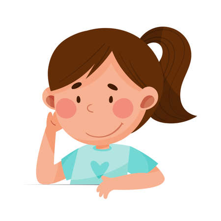 Cute Girl Character with Dark Hair Sitting at Table or School Desk and Listening Vector Illustration
