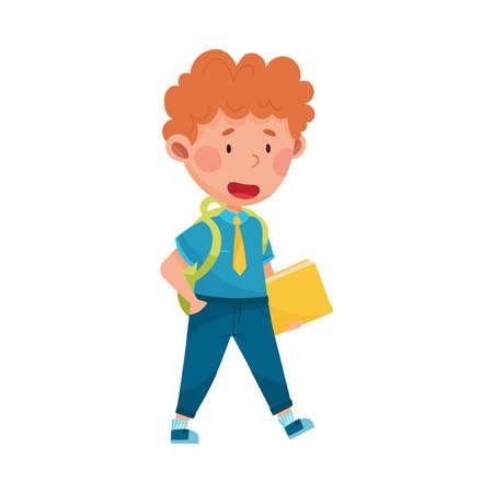 Boy Character Wearing School Uniform and Backpack Walking to School Vector Illustration Ilustração