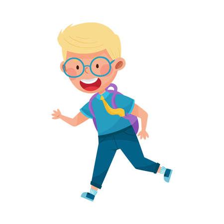Cute Boy Character Wearing School Uniform and Backpack Running to School Vector Illustration Ilustração