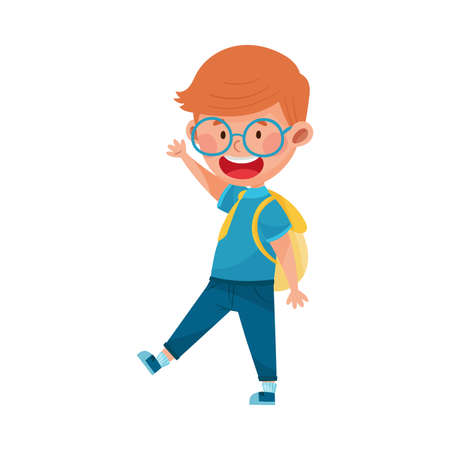 Cheerful Boy Character Wearing School Uniform and Backpack Walking to School and Waving Hand Vector Illustration
