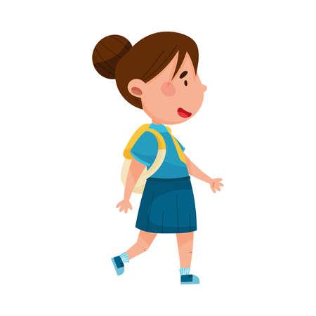 Cute Girl Character Wearing School Uniform and Backpack Walking to School Vector Illustration Ilustração