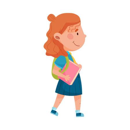 Girl Character Wearing School Uniform and Backpack Walking to School Vector Illustration