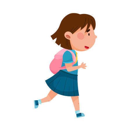 Cute Girl Character Wearing School Uniform and Backpack Running to School Vector Illustration