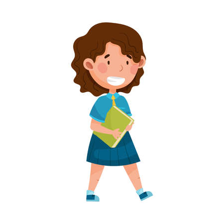 Girl Character in School Uniform Carrying Book and Walking to School Vector Illustration