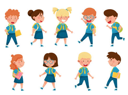 Boy and Girl Characters Wearing School Uniform and Backpack Walking and Running to School Vector Illustration Set