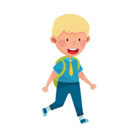 Cute Boy Character Wearing School Uniform and Backpack Walking to School Vector Illustration