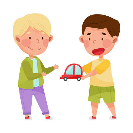 Friendly Kids Playing Together and Sharing Toy Car Vector Illustration