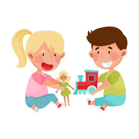 Friendly Kids Playing Together and Sharing Toys Vector Illustration