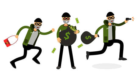 Male Burglar or Robber in Black Mask Stealing Money Illustration Set