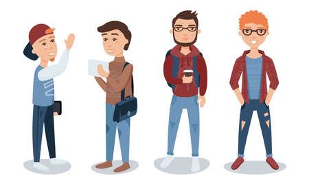 Male Students Illustration Set