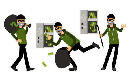Smirking Male Burglar or Robber in Black Mask Stealing Money from Cash Box Illustration Set
