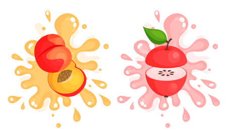 Juicy Cut Fruits with Pulpy Splashes and Blots Vector Set 向量圖像