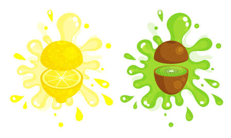 Juicy Cut Fruits with Pulpy Splashes and Blots Vector Set