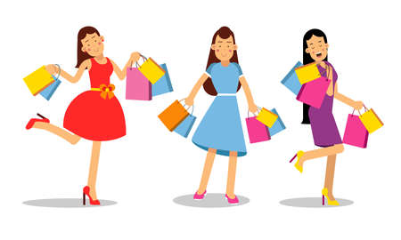 Woman Characters Carrying Bright Shopping Bags Vector Illustration Set