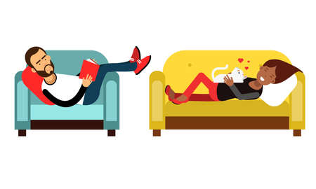 Young Man and Woman Character Having Rest on Couch Vector Illustration Set