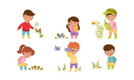 Little Kids Holding Magnifying Glass and Binocular Exploring Nature Vector Illustrations Set Vector Illustration