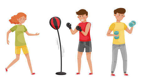 People Characters Reducing Stress by Different Activities like Boxing and Running Vector Illustrations Set