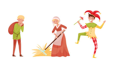 Medieval People Characters with Farmworkers and Jester Vector Set Vektoros illusztráció
