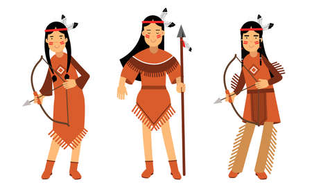 Red Indian or American Indians in National Clothing Standing with Spear and Bow Vector Illustration Set