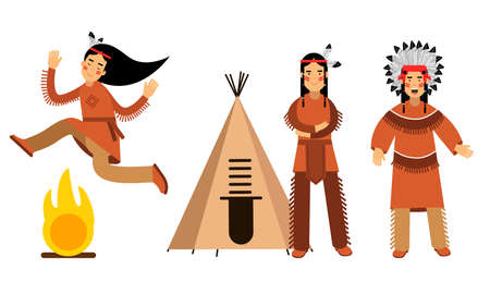 Red Indian or American Indians Men and Woman in National Clothing Standing Near Teepee and Dancing Across Fire Vector Illustration Set
