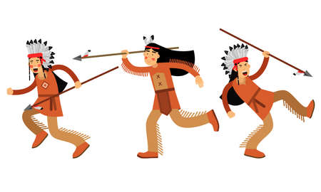 Red Indian Man in Feathered Headdress and National Clothing Hunting with Spear Vector Illustration Set