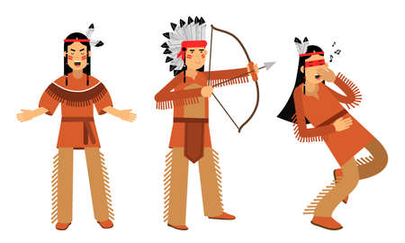 Red Indian or American Indians in National Clothing Standing with Bow and Battle Crying Vector Illustration Set